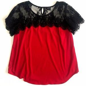 Torrid Womens Red Black Lace Short Sleeve Blouse 2